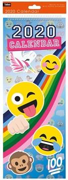 2020 Slim Month To View Spiral Bound Illustrated Wall Calendar - Emojis