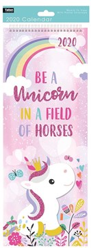 2020 Slim Month To View Spiral Bound Illustrated Wall Calendar - Unicorn