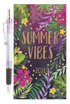 2020 Slim Week To View Hardback Diary & Pen - Bright Flowers Summer Vibes