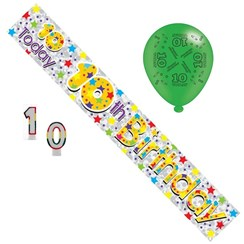 Age 10 Unisex Birthday Party Pack - Banner, Balloons, Number Candle