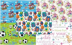 10 Sheets of Children's Wrapping Paper - Mixed Designs Girls Boys Unisex