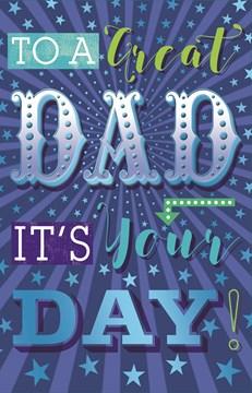 "Dad Birthday Card - Blue Metallic Text, Green Arrow, Dots & Stars 10.75"" x 6.75"""
