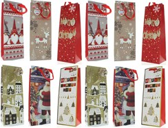 Set of 12 Christmas Wine Bottle Gift Bags with Tags - Traditional & Contemporary