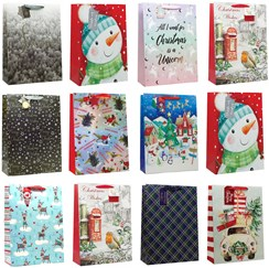 Set of 12 Extra Large Christmas Gift Bags with Rope Handle & Tag Mixed Designs