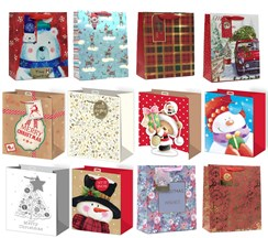 Set of 12 Medium Christmas Gift Bags Rope Handle & Tags Cute & Traditional