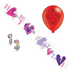 Age 13 Girl Birthday Party Pack - 13th Banner, Balloons, Number Candle