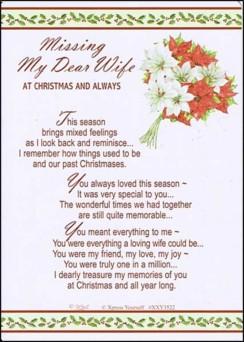 "Loving Memory Christmas Graveside Memorial Card - Missing My Dear Wife 6"" x 4"""