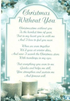 """Loving Memory Christmas Graveside Memorial Card - Xmas Without You 6.25"""" x 4.25"""""""