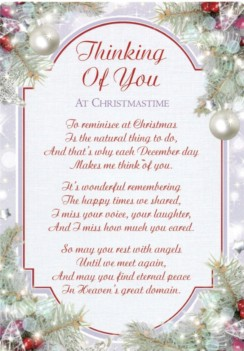 "Loving Memory Christmas Graveside Memorial Card - Thinking Of You 6.25"" x 4.25"""