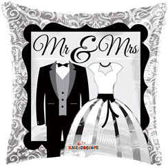 "Square 18"" Wedding Foil Helium Balloon (Not Inflated) - Black & Silver Mr & Mrs"
