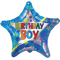 "Star 18"" Happy Birthday Foil Helium Balloon (Not Inflated) - Birthday Boy Stars"