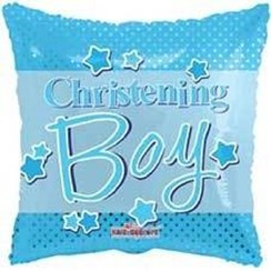 "Square 18"" Christening Foil Helium Balloon (Not Inflated) - Blue Text & Stars"