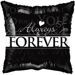 "Square 18"" Wedding Foil Helium Balloon (Not Inflated) - Black Always & Forever"