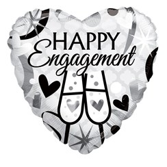 "Heart 18"" Engagement Foil Helium Balloon (Not Inflated) - Black & Silver Glasses"