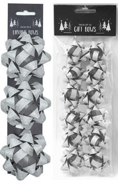 Pack of 15 Glitter Foil Christmas Gift Bows- Assorted Sizes - Plain Silver
