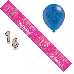 Age 16 Girl Birthday Party Pack - Banner, Balloons, Number Candles
