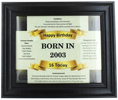 2020 16 Today Happy Birthday Print & Black Photo Frame - 2004 Was A Special Year