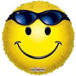 "Round 18"" Yellow Emoji Foil Helium Balloon (Not Inflated) - Shades Face"