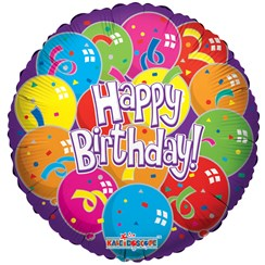 """Round 18"""" Happy Birthday Foil Helium Balloon (Not Inflated) - Purple Balloons"""
