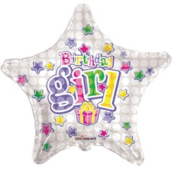"Star 18"" Happy Birthday Foil Helium Balloon (Not Inflated) - Birthday Girl Stars"