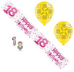 Age 18 Female Birthday Party Pack - Banner, Balloons,  Candles,