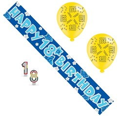 Age 18 Male Birthday Party Pack - Banner, Balloons,Candles,