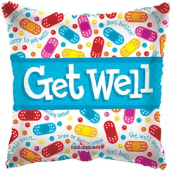 "Square 18"" Get Well Soon Foil Helium Balloon (Not Inflated) - Bright Plasters"
