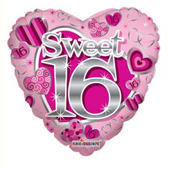 """Heart 18"""" 16th Birthday Foil Helium Balloon (Not Inflated) - Age 16 Girl Hearts"""