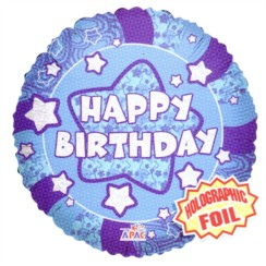 """Round 18"""" Happy Birthday Foil Helium Balloon (Not Inflated) - Blue & Silver"""