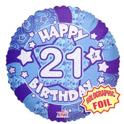 "Round 18"" 21st Birthday Foil Helium Balloon (Not Inflated) - Age 21 Male Stars"
