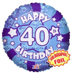 "Round 18"" 40th Birthday Foil Helium Balloon (Not Inflated) - Age 40 Male Stars"