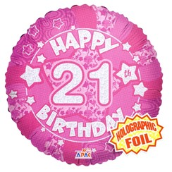 """Round 18"""" 21st Birthday Foil Helium Balloon (Not Inflated) - Age 21 Female Stars"""