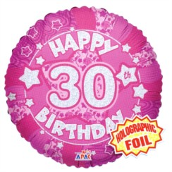 "Round 18"" 30th Birthday Foil Helium Balloon (Not Inflated) - Age 30 Female Stars"