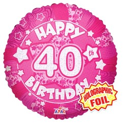 """Round 18"""" 40th Birthday Foil Helium Balloon (Not Inflated) - Age 40 Female Stars"""
