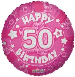 """Round 18"""" 50th Birthday Foil Helium Balloon (Not Inflated) - Age 50 Female Stars"""