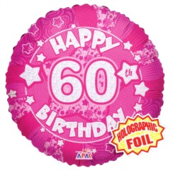 """Round 18"""" 60th Birthday Foil Helium Balloon (Not Inflated) - Age 60 Female Stars"""