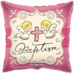 "Square 18"" Baptism Foil Helium Balloon (Not Inflated) - Pink Angels & Cross"