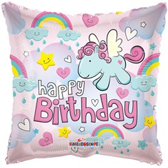 """Square 18"""" Happy Birthday Foil Helium Balloon (Not Inflated) - Unicorn & Clouds"""