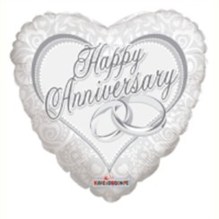 "Heart 18"" Anniversary Foil Helium Balloon (Not Inflated) - White & Silver Rings"