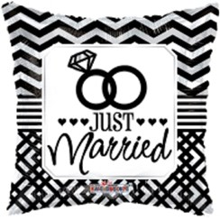 """Square 18"""" Wedding Foil Helium Balloon (Not Inflated) - Black Just Married Rings"""