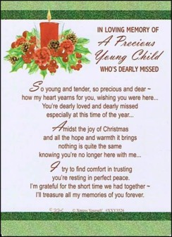 "Loving Memory Christmas Graveside Memorial Card - Precious Young Child 6"" x 4"""