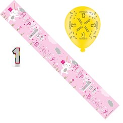 Age 1 Girl Birthday Party Pack - 1st Banner, Balloons, Number Candle