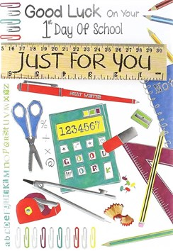 """1st First Day At New School Greetings Card - Just For You Stationery 7.5""""x 5.25"""""""