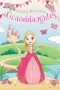 "Granddaughter Birthday Card - Princess, Castle, Pink Roses & Butterflies 9"" x 6"""