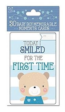 Pack Of 30 Blue Baby Boy Memorable Moments Milestone Keepsake Cards