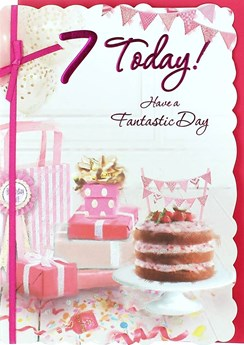 "Age 7 Girl Birthday Card - Pink Strawberry Cake, Presents & Bunting 7.5"" x 5.25"""