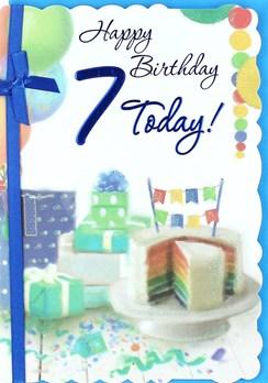 "Age 7 Boy Birthday Card - Rainbow Cake, Presents, Balloon & Bunting 7.5"" x 5.25"""