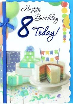 "Age 8 Boy Birthday Card - Rainbow Cake, Presents, Balloon & Bunting 7.5"" x 5.25"""