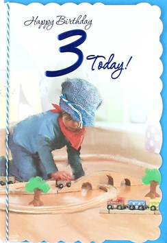 "Age 3 Boy Birthday Card - Young Boy, Blue Flat Cap & Wooden Train Set 8.75"" x 6"""