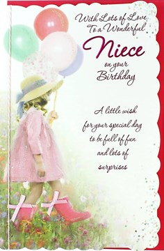 "Niece Birthday Card - Little Girl, Pink Wellies, Big Balloons & Field 10.5"" x 7"""